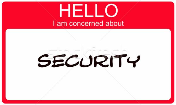 Hello délelőtt biztonság piros névtábla készít Stock fotó © mybaitshop