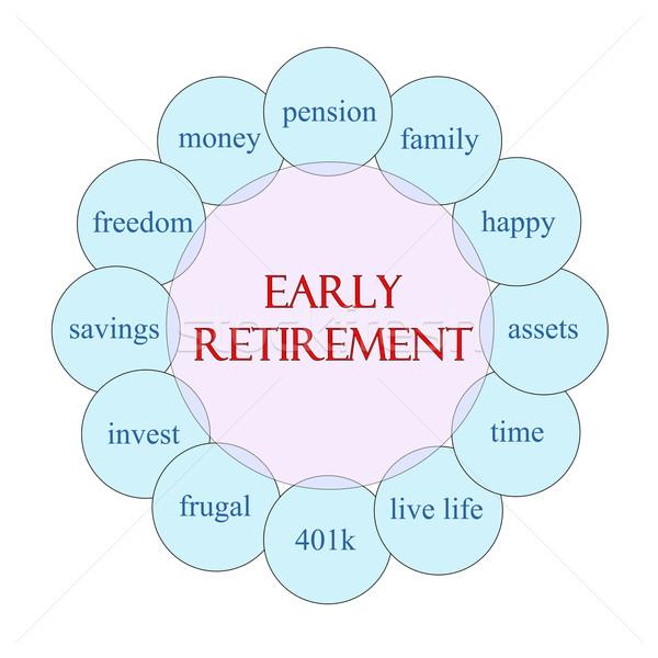 Korai nyugdíj körkörös szó diagram rózsaszín Stock fotó © mybaitshop