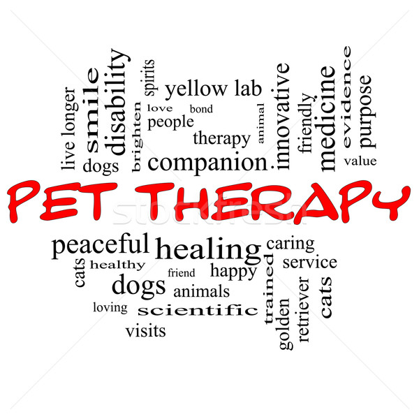 Pet Therapy Word Cloud Concept in red and black Stock photo © mybaitshop