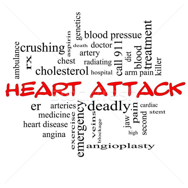 сердечный приступ слово облако красный болезнь сердца rx Сток-фото © mybaitshop