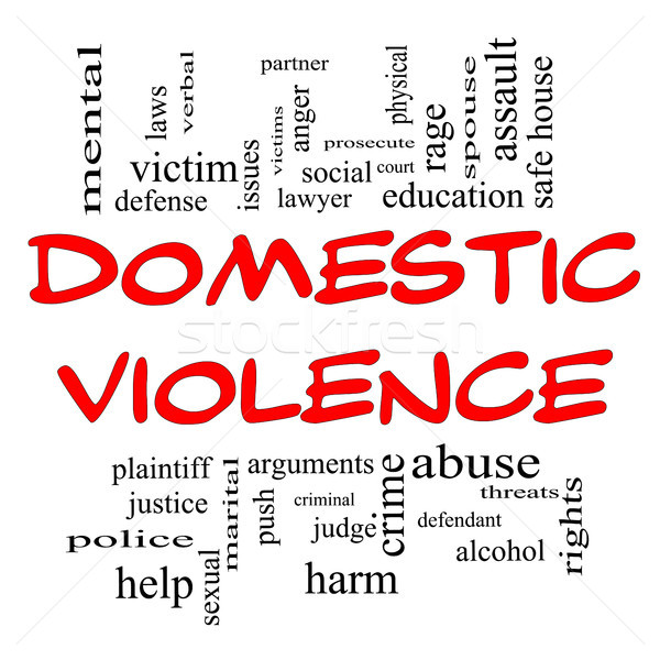 Domestic Violence Word Cloud Concept in Red Caps Stock photo © mybaitshop