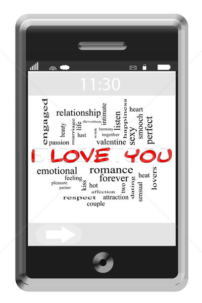 I Love You Word Cloud Concept on Touchscreen Phone Stock photo © mybaitshop