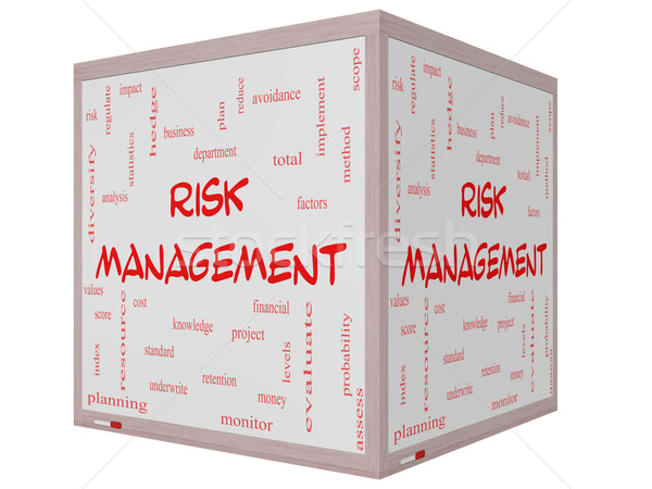 Risk Management Word Cloud Concept on a 3D Cube Whiteboard Stock photo © mybaitshop