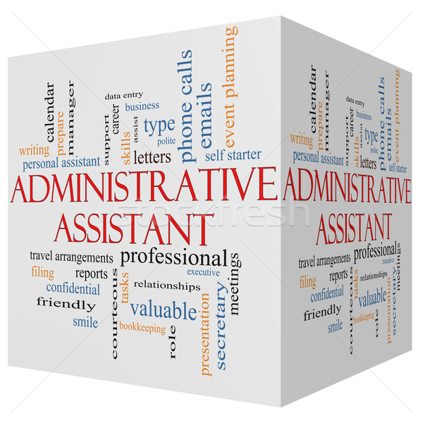 Administrative Assistant 3D cube Word Cloud Concept Stock photo © mybaitshop