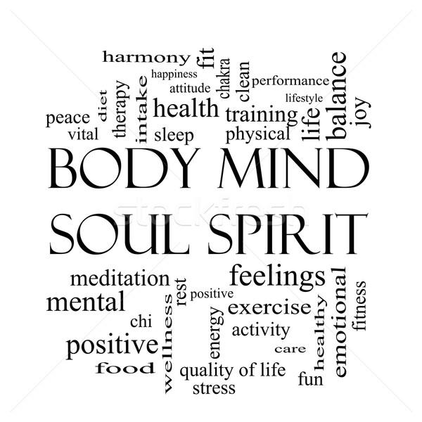 Zdjęcia stock: Ciało · umysł · dusza · duch · chmura · słowo · czarno · białe
