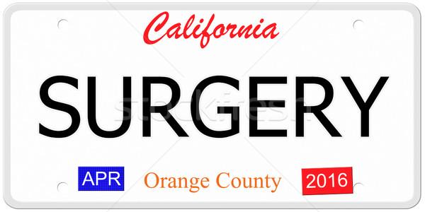 Калифорния хирургии имитация номерной знак слов оранжевый Сток-фото © mybaitshop