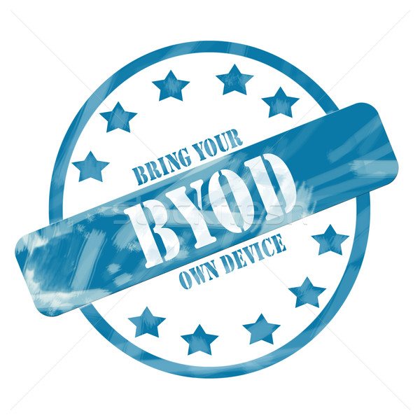 Blue Weathered BYOD Stamp Circle and Stars Stock photo © mybaitshop