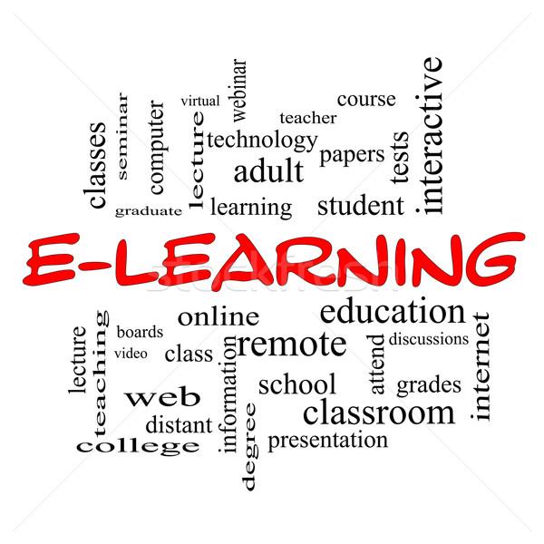 Online oktatás szófelhő piros nagyszerű online iskola Stock fotó © mybaitshop