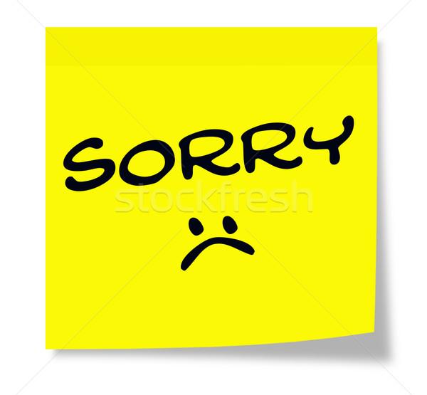 Siralmas szomorú arc öntapadó jegyzet írott citromsárga Stock fotó © mybaitshop