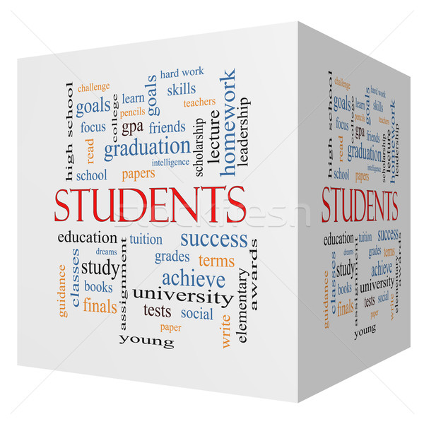 Students 3D cube Word Cloud Concept Stock photo © mybaitshop