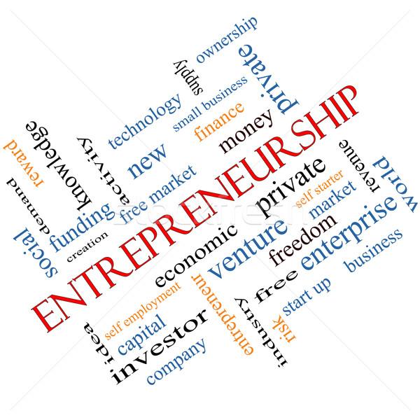 Entrepreneurship Word Cloud Concept Angled Stock photo © mybaitshop