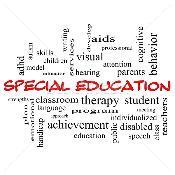 Special Education Word Cloud Concept in red caps Stock photo © mybaitshop
