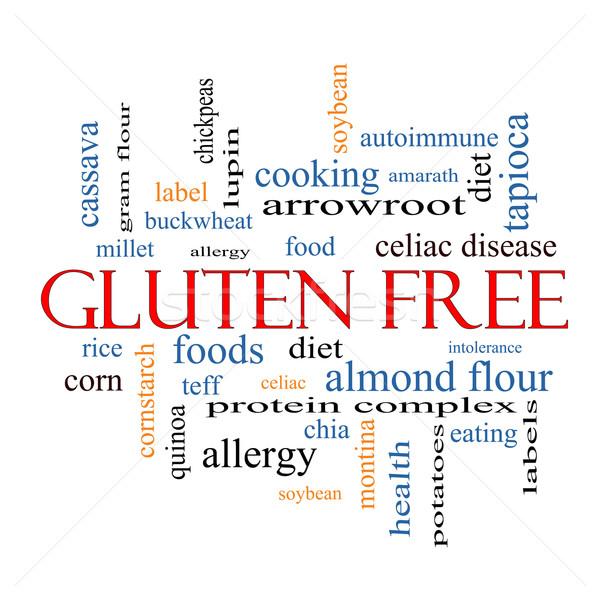Glutensiz kelime bulutu muhteşem gıda alerji diyet Stok fotoğraf © mybaitshop