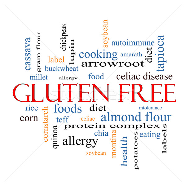 Glutenvrij woordwolk groot voedsel allergie dieet Stockfoto © mybaitshop