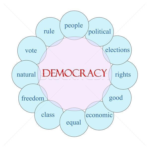 Democrazia parola diagramma rosa blu Foto d'archivio © mybaitshop