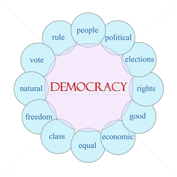 Democracia circular palabra diagrama rosa azul Foto stock © mybaitshop