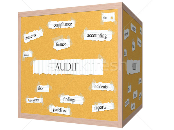 Stock photo: Audit 3D cube Corkboard Word Concept