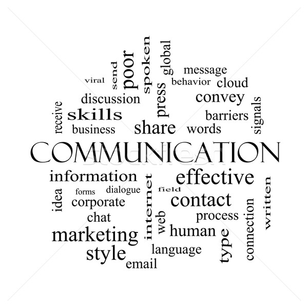 Communication Word Cloud Concept in black and white Stock photo © mybaitshop