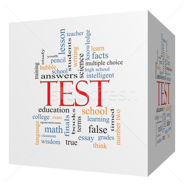 Stock fotó: Teszt · 3D · kocka · szófelhő · nagyszerű · vizsga
