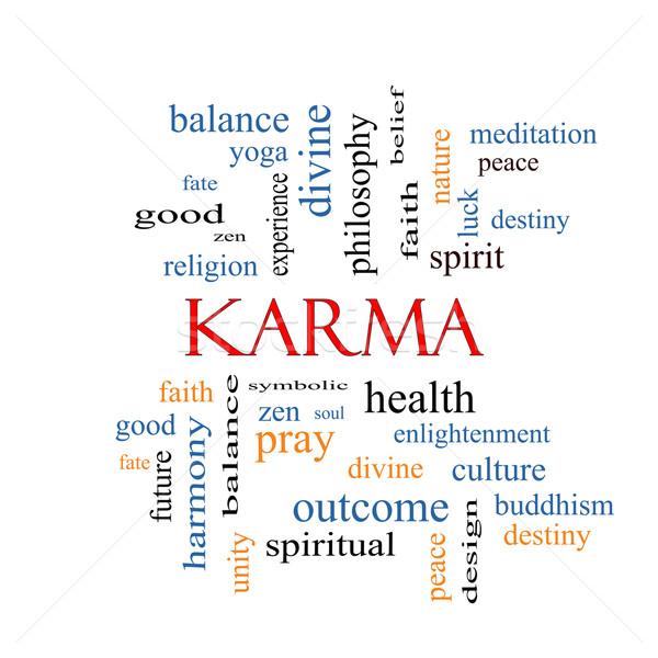 Karma szófelhő nagyszerű egyensúly jóga szellem Stock fotó © mybaitshop