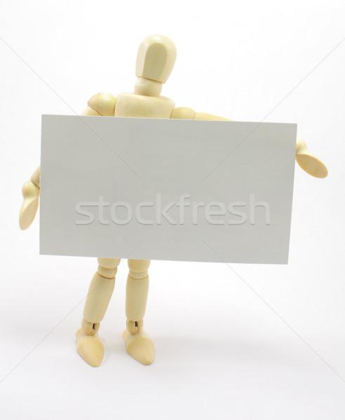 3D Man Holding Blank Business Card Stock photo © mybaitshop