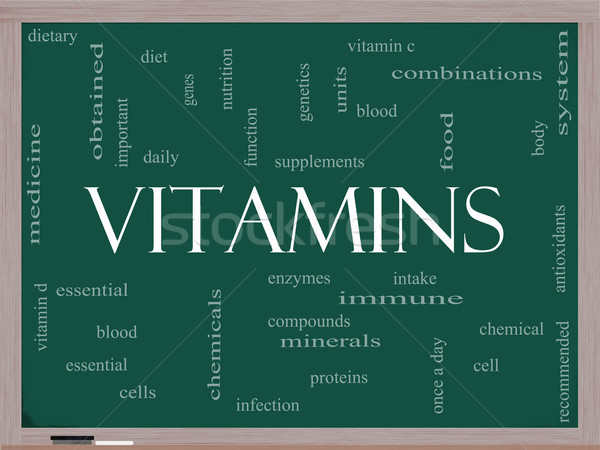 Vitamins Word Cloud Concept on a Blackboard Stock photo © mybaitshop
