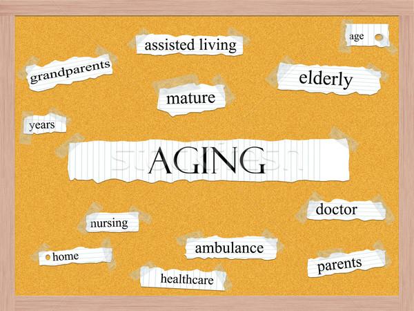 Veroudering woord groot volwassen ouderen jaren Stockfoto © mybaitshop