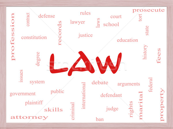 Law Word Cloud Concept on a Dry Erase Board Stock photo © mybaitshop