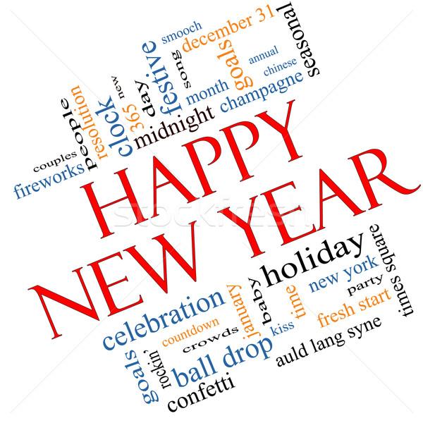Boldog új évet szófelhő nagyszerű ünneplés ünnep visszaszámlálás Stock fotó © mybaitshop