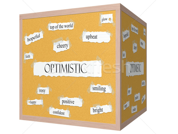 Optimistic 3D cube Corkboard Word Concept Stock photo © mybaitshop