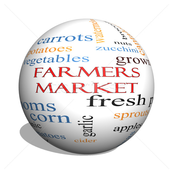 Farmers 3D sphere Market Word Cloud Concept Stock photo © mybaitshop