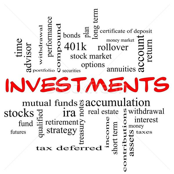 Investissements nuage de mots rouge magnifique mutuelle Photo stock © mybaitshop