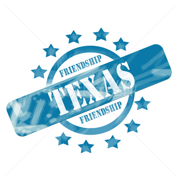 Blue Weathered Texas Stamp Circle and Stars Design Stock photo © mybaitshop