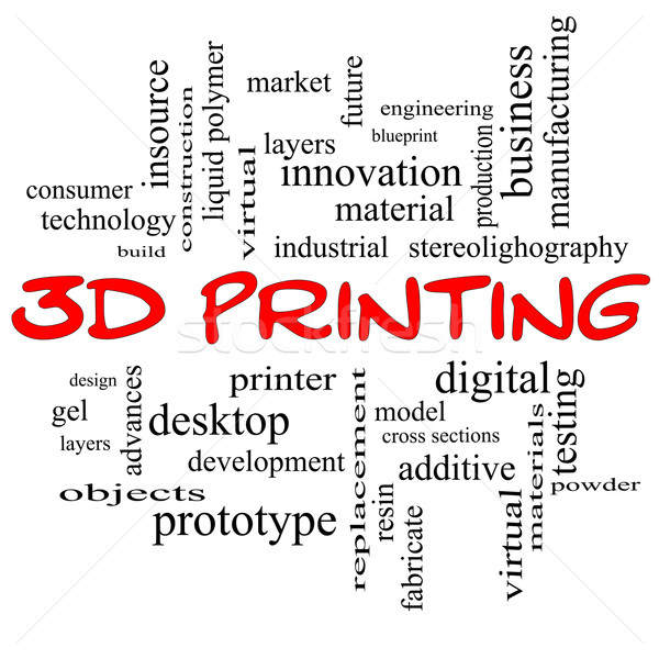 3D Printing Word Cloud Concept in red caps Stock photo © mybaitshop