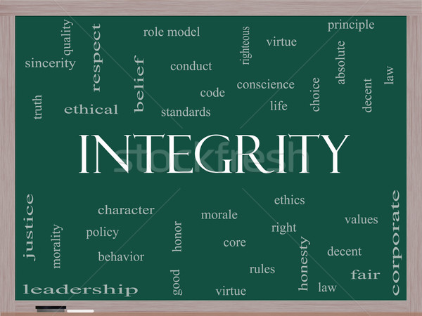 Integrity Word Cloud Concept on a Blackboard Stock photo © mybaitshop