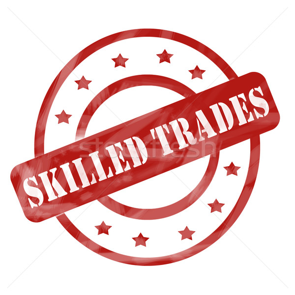 Red Weathered Skilled Trades Stamp Circles and Stars Stock photo © mybaitshop