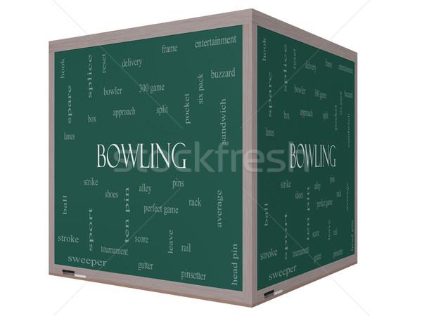 Bowling woordwolk 3D kubus Blackboard groot Stockfoto © mybaitshop