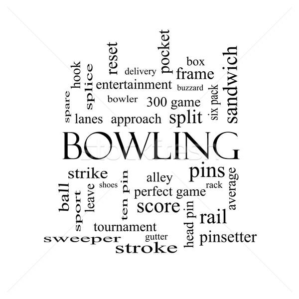 Bowling woordwolk zwart wit groot frame staking Stockfoto © mybaitshop