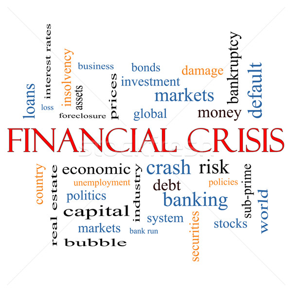 финансовый кризис слово облако глобальный аварии риск Сток-фото © mybaitshop