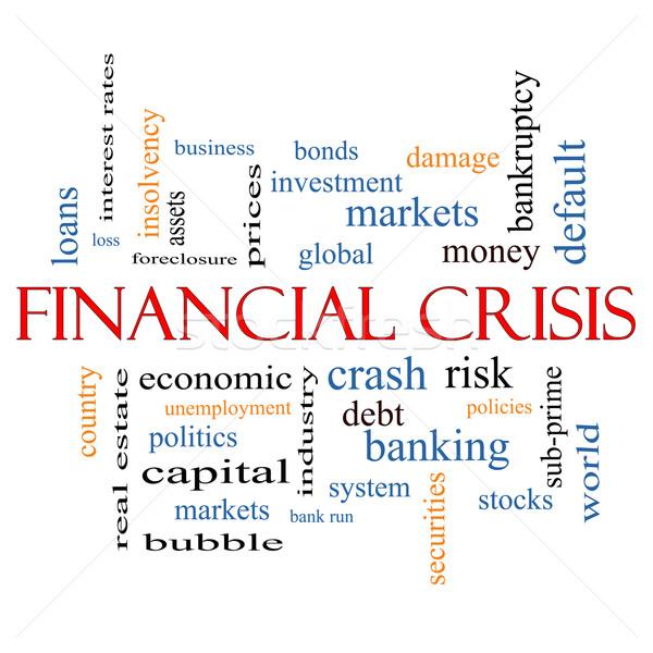 Crisi finanziaria word cloud globale crash rischio Foto d'archivio © mybaitshop