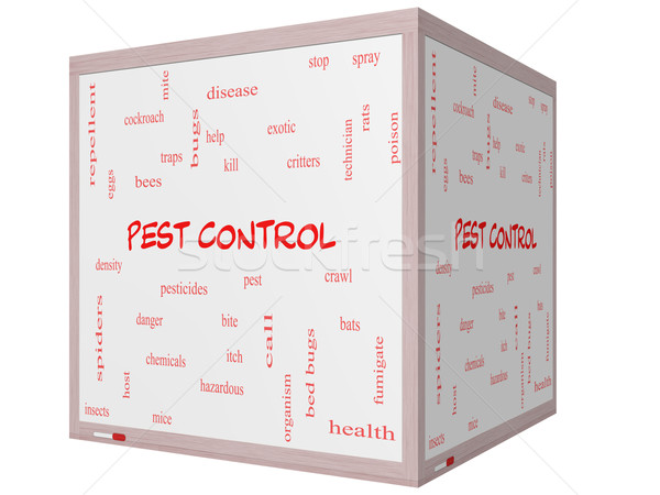 Pest Control Word Cloud Concept on a 3D cube Whiteboard Stock photo © mybaitshop