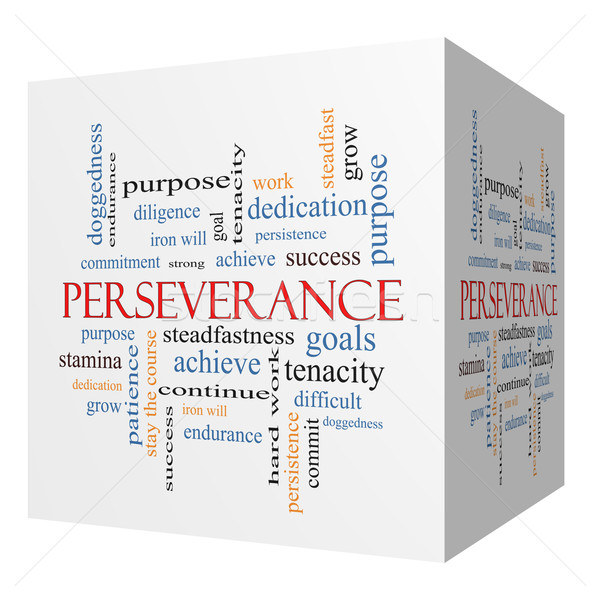 Perseverance 3D cube Word Cloud Concept Stock photo © mybaitshop