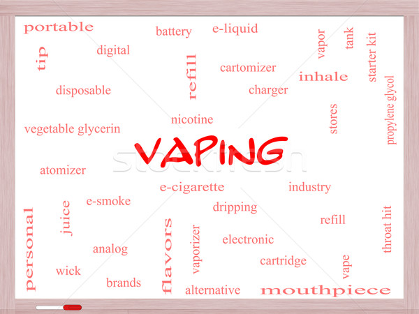 Vaping Word Cloud Concept on a Whiteboard Stock photo © mybaitshop