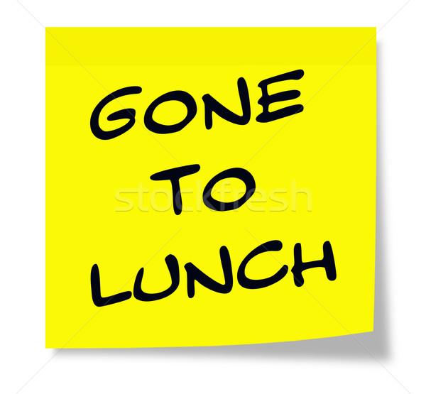 Obiad karteczkę napisany papieru żółty Zdjęcia stock © mybaitshop