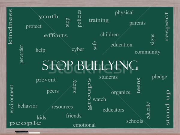 Stop megfélemlítés szófelhő iskolatábla nagyszerű diákok Stock fotó © mybaitshop