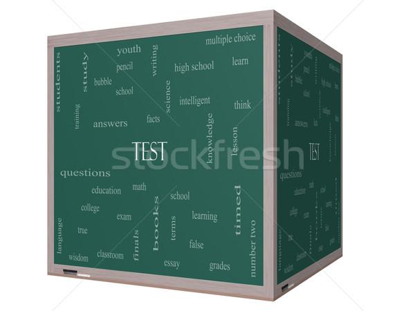 Test Word Cloud Concept on a 3D cube Blackboard Stock photo © mybaitshop