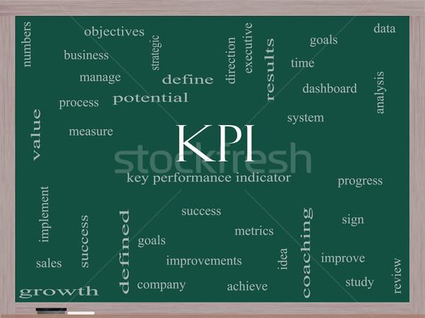 KPI Word Cloud Concept on a Blackboard Stock photo © mybaitshop
