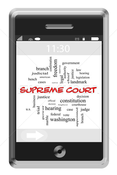 Supreme Court Word Cloud Concept on a Touchscreen Phone Stock photo © mybaitshop