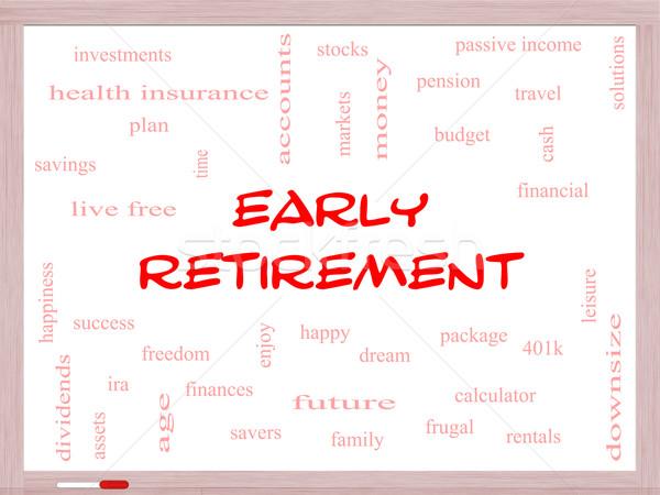 Korai nyugdíj szófelhő tábla nagyszerű befektetések Stock fotó © mybaitshop