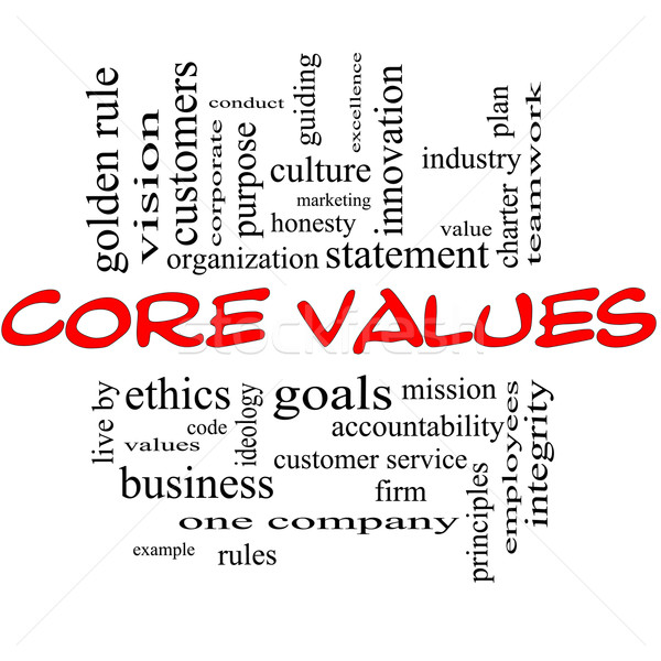 Core Values Word Cloud Concept in Red & Black Stock photo © mybaitshop